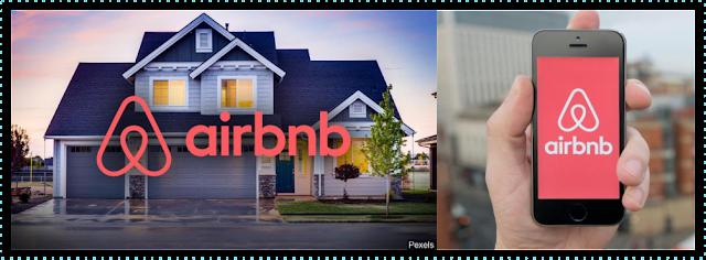 Casa com logo Airbnb a esquerda e a direita celular com aplicativo