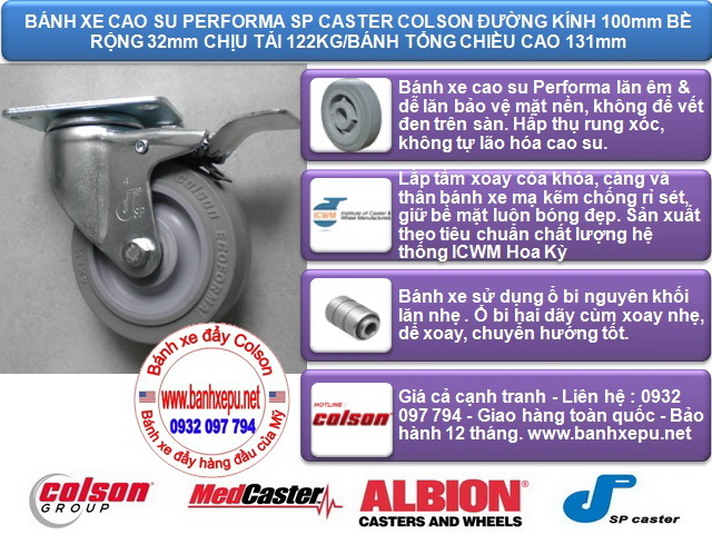 Bánh xe cao su đặc xoay khóa 4 inch chịu lực 122kg | S2-4256-TPE-B4W www.banhxeday.xyz