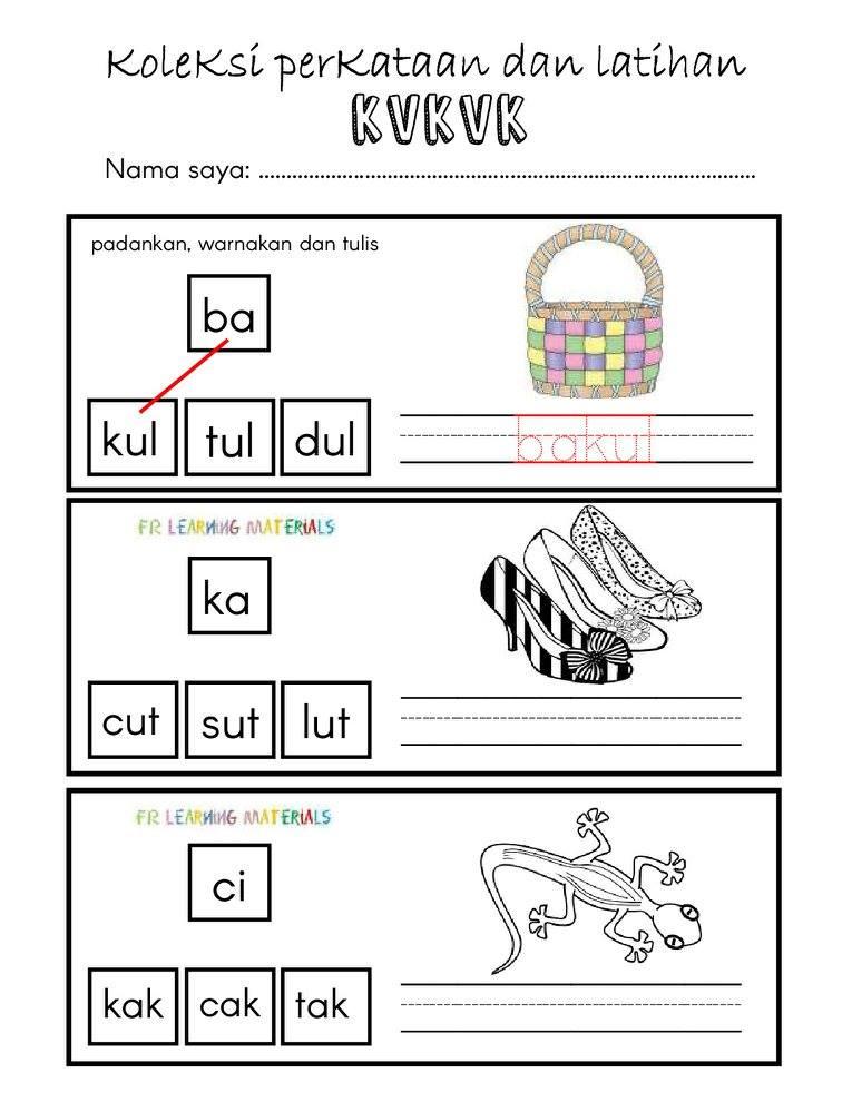 Cikgu Hijau Bbm Latihan Memadankan Suku Kata Dan Menulis Lebih 50 Perkataan Kv Kvk