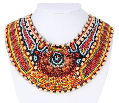 colorful bohemian necklace, beaded bib boho necklace