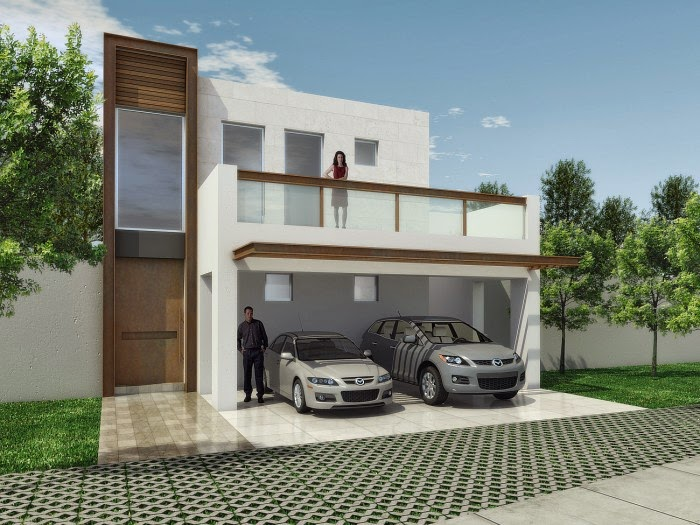 Fachadas minimalistas elegante fachada minimalista con - Imitacion madera para fachadas ...