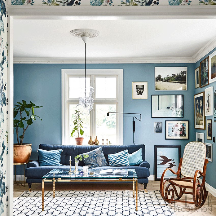 Beautiful Living Room designed around a Blue Color Palette