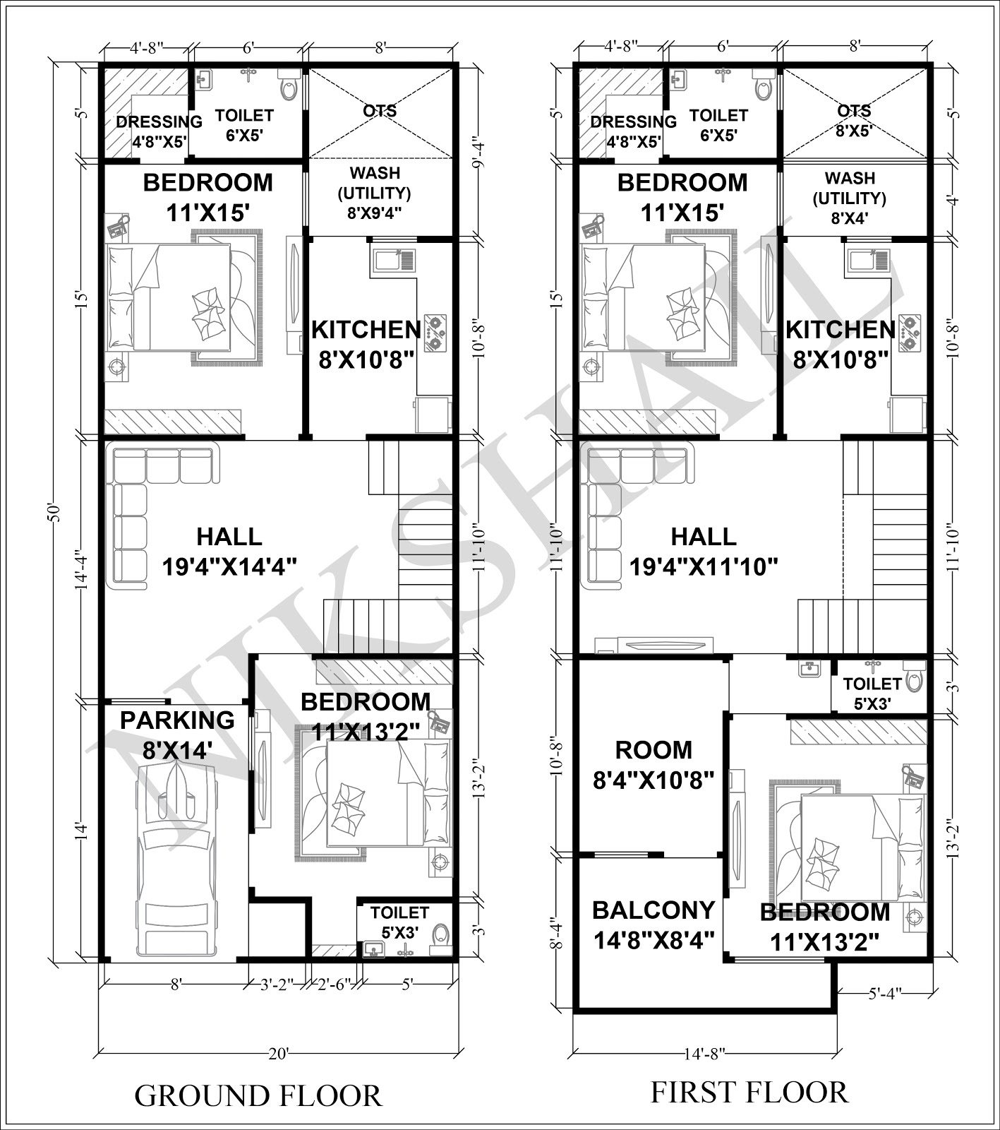 20X50 House plan with 3d elevation option c by nikshail