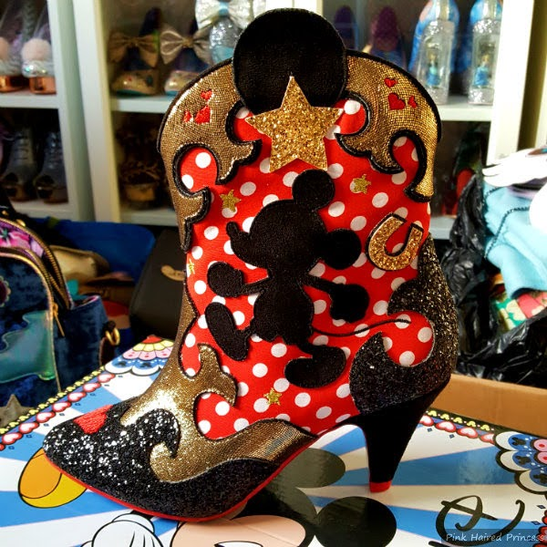 Irregular Choice red polka dot ankle boots with Mickey Mouse character