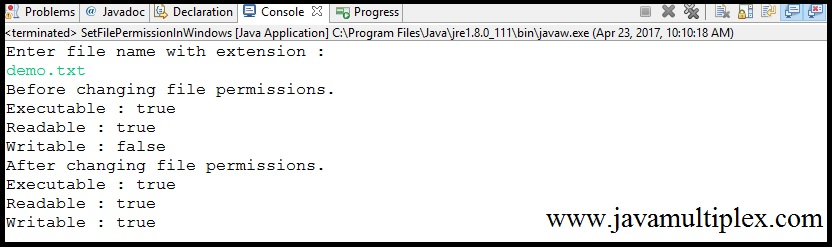 Output of Java program that sets new permissions of given file.