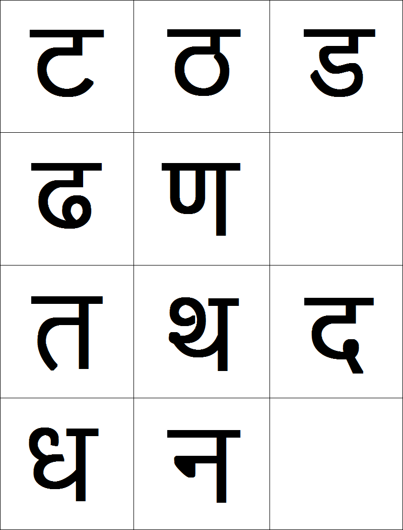 Marathi vyanjan (consonants) flashcards printable - 2 | Kids Learn