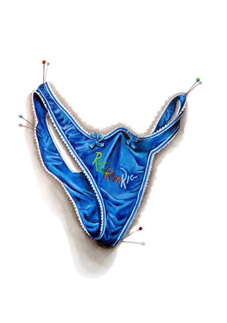 """String bleu avec la broderie """"Rock in Rio"""" dessiné aux crayons de couleur"""