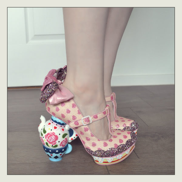 wearing irregular choice alice my cup of tea pink shoes