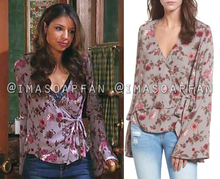 Valerie Spencer, Brytni Sarpy, Mauve Floral Wrap Blouse, General Hospital, GH