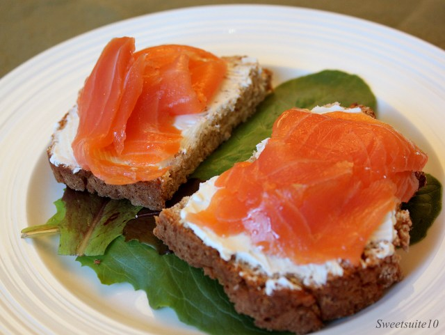 Brown bread, cream cheese, and smoked salmon