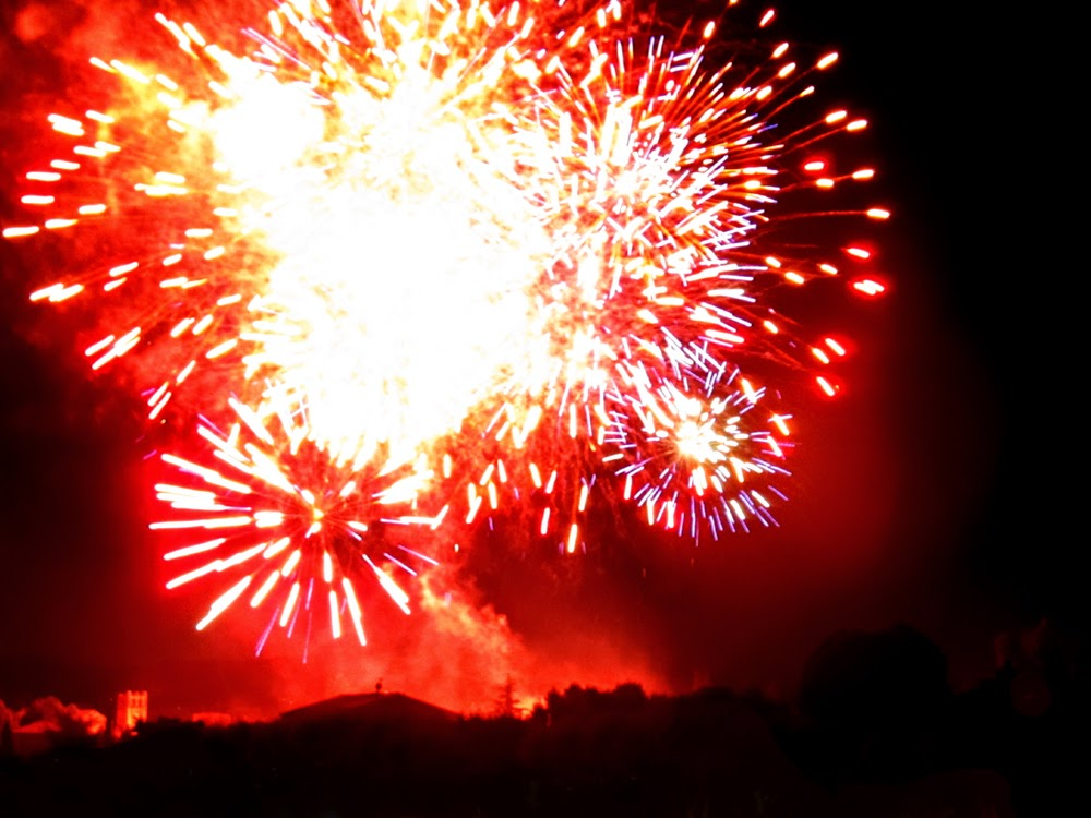 Bastille Day fireworks in Vaison-la-Romaine, Provence, France