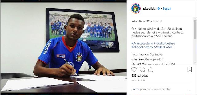 Wesley, Atleta Ipiraense, comemora ascensão para o elenco profissional do São Caetano