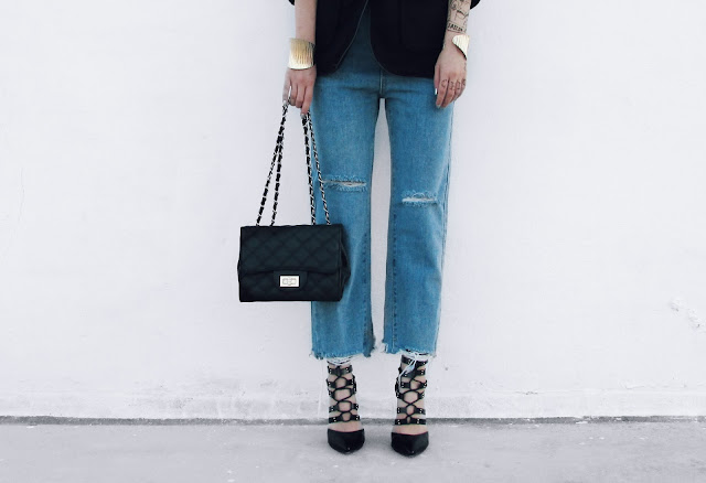 mom jeans lace up heels