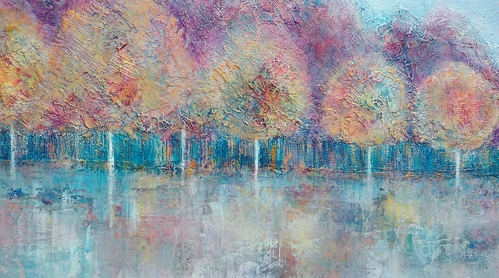 Into autumn, collage and acrylic painting on canvas | Helen Fowler Art