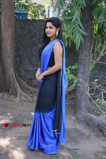 Actress Divya Bharthi Stills IN Blue Saree at Mupparimanam Press Meet Stills  0003.jpg