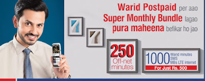 Warid Super Monthly Bundles for warid postpaid