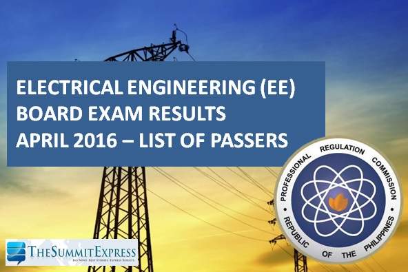 April 2016 Electrical Engineer REE, RME board exam results