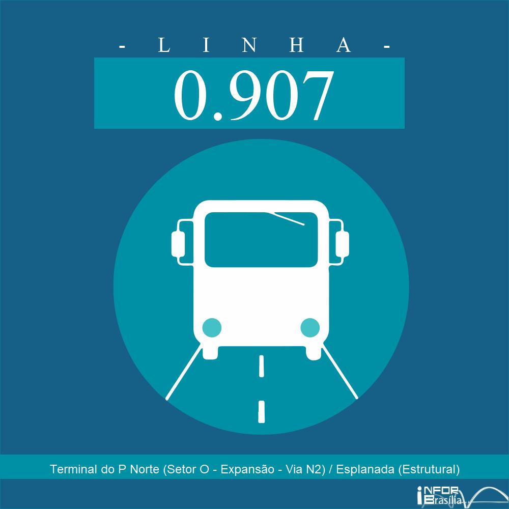 Horário de ônibus e itinerário 0.907 - Terminal do P Norte (Setor O - Expansão - Via N2) / Esplanada (Estrutural)