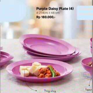 jual purple daisy plate tupperware