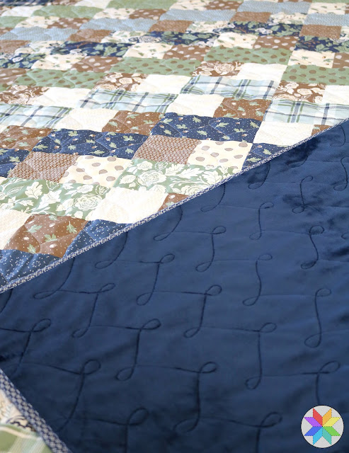 Wishbone free motion quilting by Andy of A Bright Corner - loop quilting design, FMQ perfect for using on brick road quilts