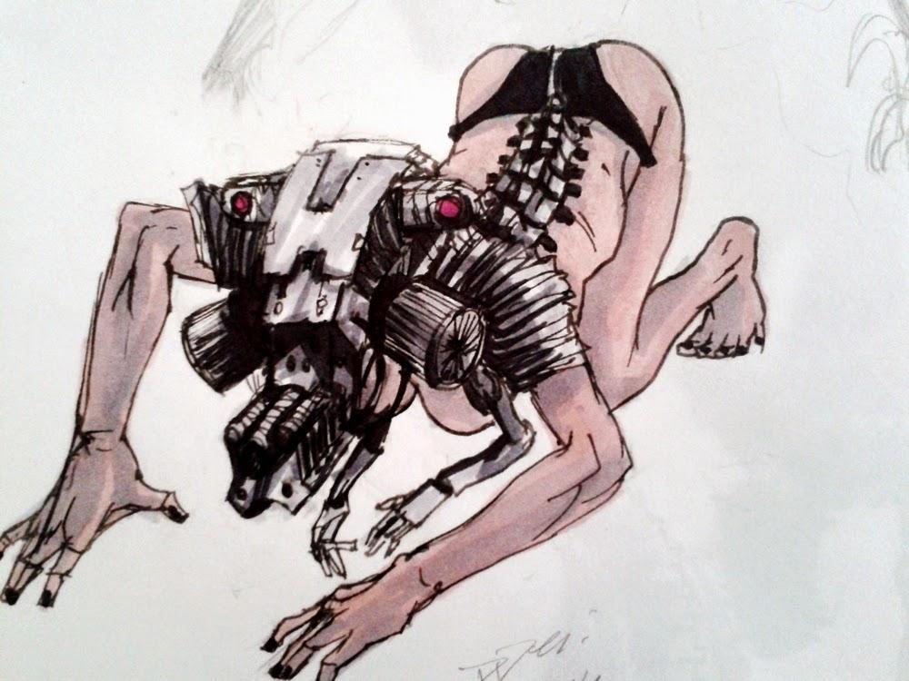 character design, sketchbook, alien creature, robot, female robot, sex robot, sex girl, nude, naked, android, androide, robo pelada, nua, robot possession, sci-fi, robot slave, escrava robo, douglas deri, deri, deriart