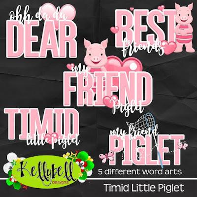Timid Little Piglet Word Art