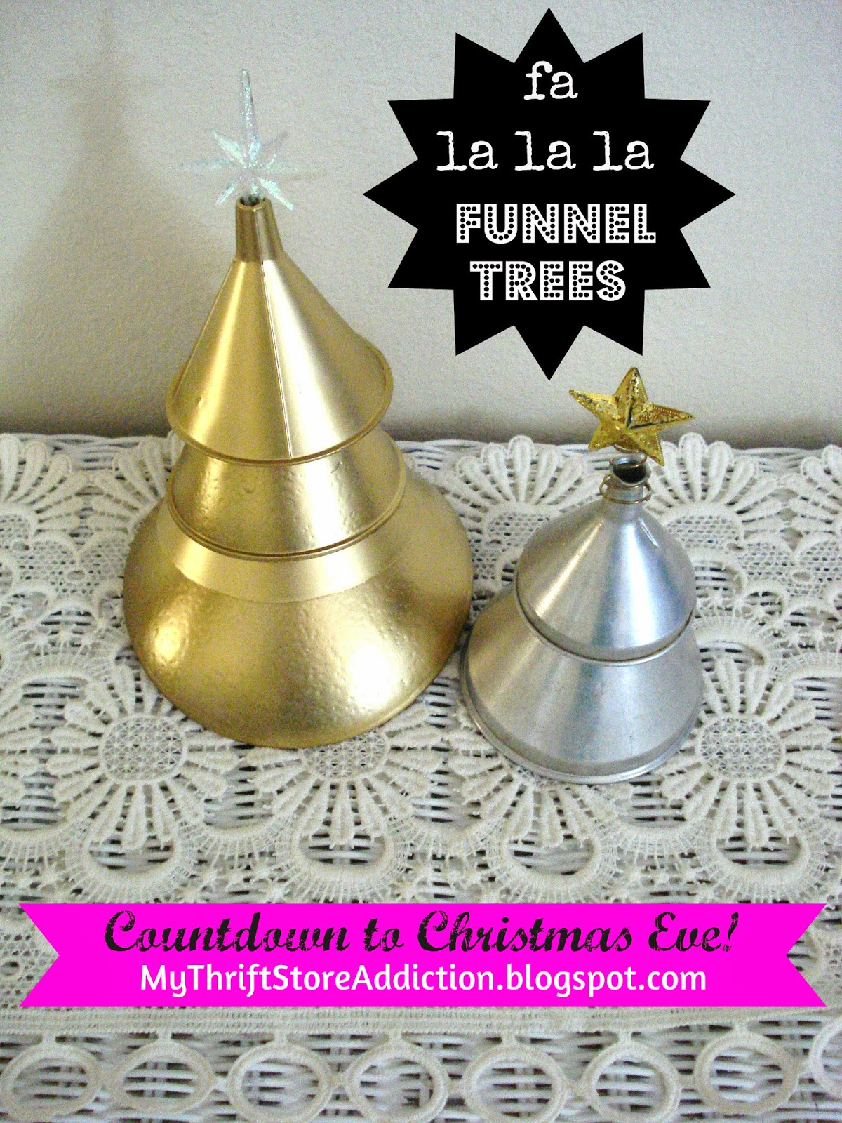 Repurposed funnel Christmas trees