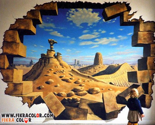 ديكورات دهانات رسم ثلاثي الابعاد على الجدران Fikra Color