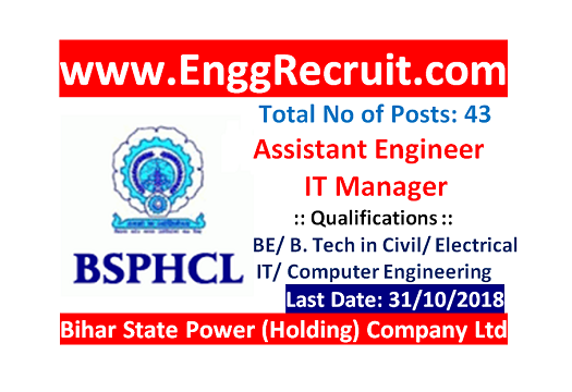BSPHCL Recruitment 2018 for Assistant Engineer
