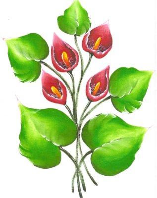 pintura em tecido flores pano de prato antúrios