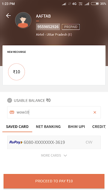 Freecharge-Get Rs.10 Cashback on Recharge Rs.10 or Bill Payment (All User Available)