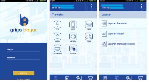 Tampilan Aplikasi Mobile Griya Bayar