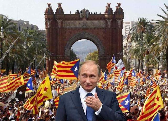 Putin diz que é um assunto interno da Espanha, mas pisca o olho para os separatistas e lhes manda um representante.