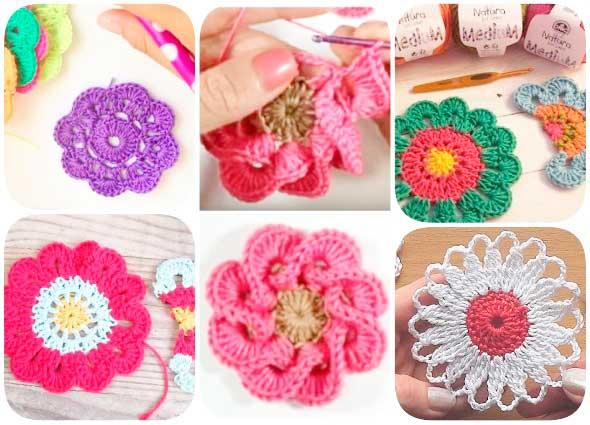 motivos, flores, composiciones, patrones para crochet