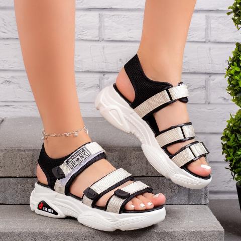 Sandale dama sport negre cu bej la moda fashion