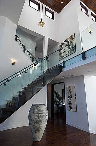 Picture of modern staircase to the upper floor of Rihanna's house