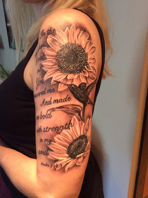 Awesome Sleeve Sunflower Tattoo For Girls