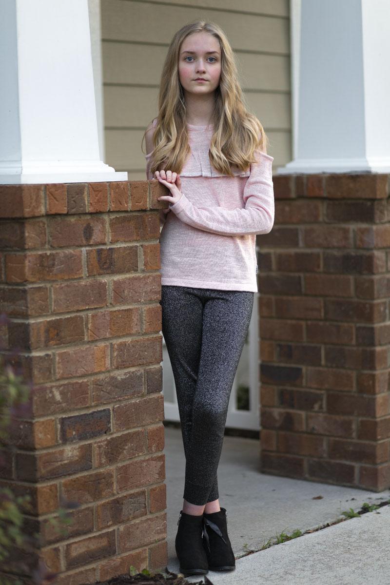 Tween Girls Fashion Pink Sparkle sweater, black sparkle leggings, black ankle booties