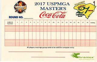 Scorecard from the 2017 USPMGA Master's minigolf competition held at the Hawaiian Rumble Mini Golf course in North Myrtle Beach. From Pat Sheridan / The Putting Penguin