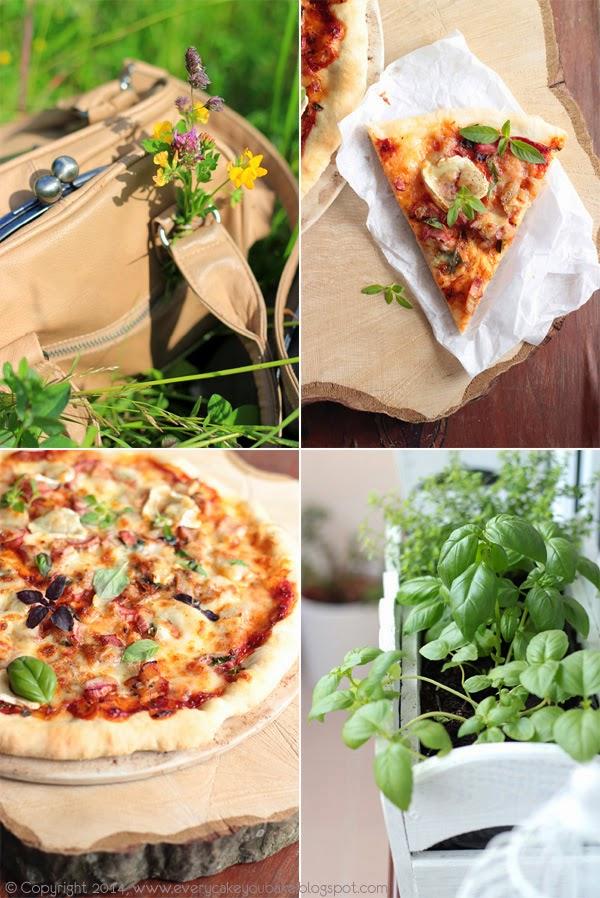majowa pizza z rabarbarem, kozim serem i bazylią