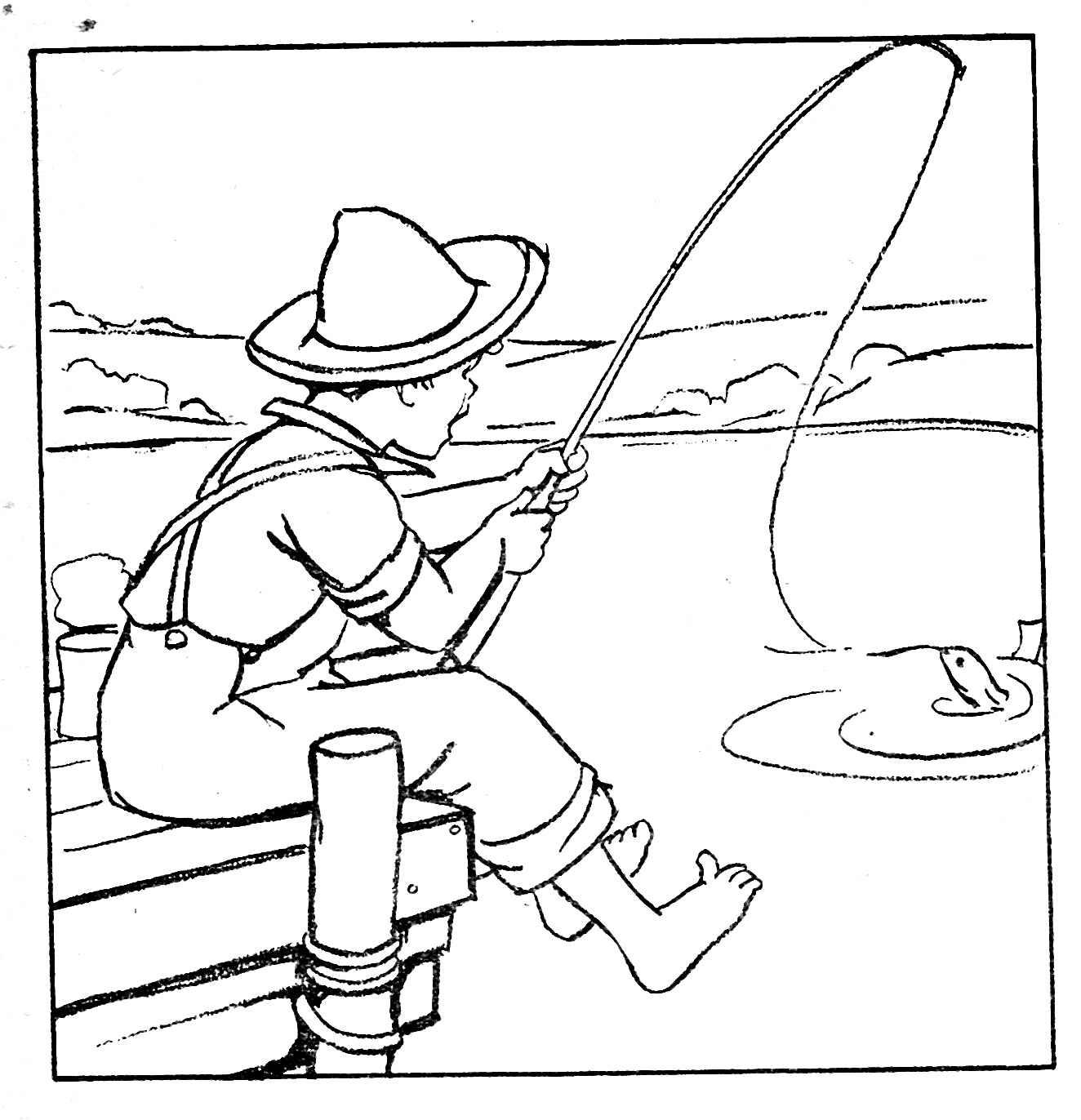 Картинки для раскрашивания рыбалка