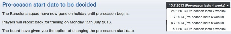 FM13 Preseason training length