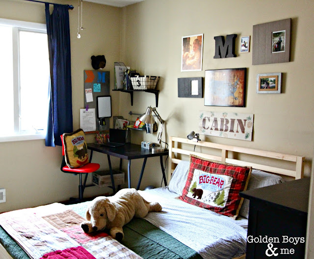 Boys cabin themed bedroom ideas - www.goldenboysandme.com