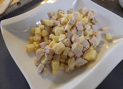 Preparación de la ensalada de pollo