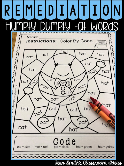 CVC Words -at Family Short a Color By Codes For Struggling Readers
