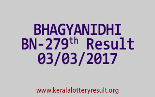 BHAGYANIDHI Lottery BN 279 Results 3-3-2017
