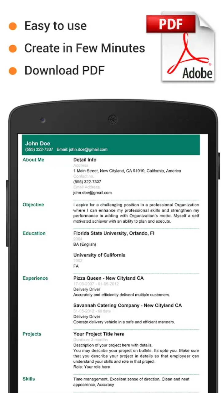 professional resume maker  u0026 cv builder- pdf format apk ad free