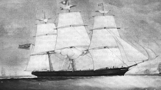 A three-masted clipper ship, in a greyscale reproduction of what may be either an ink wash or a painting.