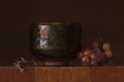 Abbey Ryan painting of Desert Sage, Korean Bowl, and Grapes