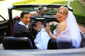 just married couple in cabrio